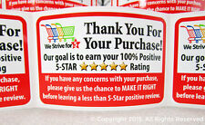 1000 Amazon eBay etsy Thank You For Your Purchase Labels Stickers 5 Star FB 2x3
