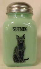 Jade Jadite Milk Green Glass Stove Top Shaker w/ Black Cat - NUTMEG