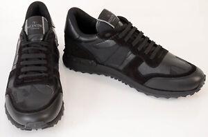 Valentino black L9.5 R9 stud trim camouflage sneaker shoe NEW $845 MISMATCH