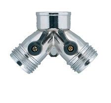 Orbit Metal Garden Hose Y For Hose Faucet Shut-Off - Water Hoses Splitter, 91701
