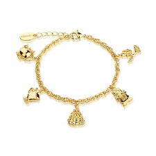 Disney Official Beauty & the Beast 14kt Gold-Plated Characters Charm Bracelet
