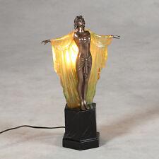 Art Deco Nouveau Lámpara De Mesa Estatuilla De Dama Elegante 48CM Lámpara De Resina Acabado Bronce