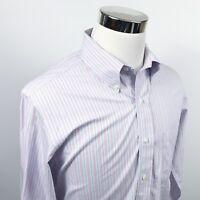 Brooks Brothers Mens 16 33 Classic Non Iron Dress Shirt Blue Pink Striped Cotton