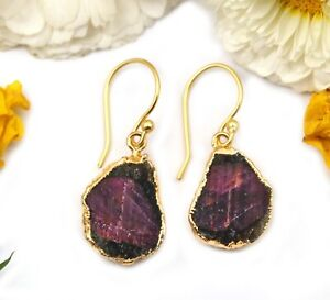 Natural Red Ruby Yellow Gold Electroplated Earrings For Women GIrls