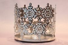 NEW BATH & BODY WORKS WHITE SNOWFLAKES GEMS LARGE 3-WICK CANDLE HOLDER SLEEVE