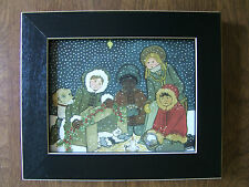 "PRIMITIVE ART - CHRISTMAS KITTY - 6"" x 7"" FRAMED (CATS, ART DECO, WINTER, PETS)"