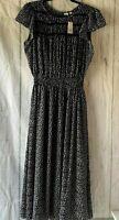 NWT Gap Women's Size M Smock Midi Dress Black Print Stretch Waist Cap Sleeve