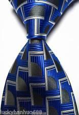 New Classic Patterns Blue White Black JACQUARD WOVEN 100% Silk Men's Tie Necktie