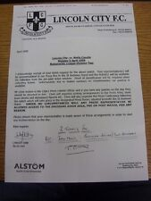 05/04/1999 Lincoln City v Notts County - Letter Referencing Tickets For Notts Co
