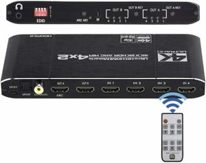 4x2 HDMI Matrix Switcher Splitter 4 in 2 Out with EDID Extractor and IR