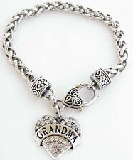 Grandma Bracelet Crystal Silver PL Grandmother Mimi Nana Heart Charm Rhinestone