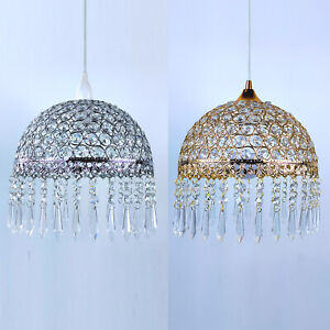 MODERN CHROME SILVER / GOLD  ROUND CRYSTAL PENDANT LAMP CHANDELIER LIGHT SHADES