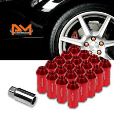 M12X1.5 Red JDM Open End Aluminum Spline Wheel Lug Nuts+Lock Key 25mmx50mm 20Pc