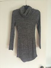 White Fox Boutique Gray Ribbed Turtle Neck Curved Hem Dress Size M