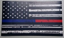 MATTE Thin Blue & Red Line FireFighter Police respect flag Vinyl Decal Sticker