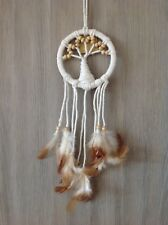 12cm White Rope Tree Of Life Dream Catcher Wood Beads & Brown/Cream Feathers