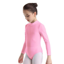 Girls Mock Neck Gymnastics Leotard Kids Long Sleeves Ballet Dance Dress Unitards