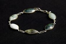 Sterling silver 925 bracelet with high quality Jadeite Green jade diamond oval