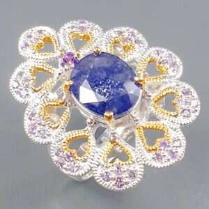 Handmade Jewelry Blue Sapphire Ring Silver 925 Sterling  Size 8 /R165573