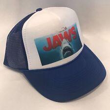 Jaws 2 Movie Trucker Hat Shark Promo Logo! Vintage Style Snapback Cap! Blue Mesh