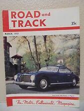 Vintage Road & Track Magazine March 1951 Pinin Farina Alfa Romeo