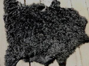 sheepskin leather hide Jet Black Long Curly Toscana Silky Hair w/Suede back