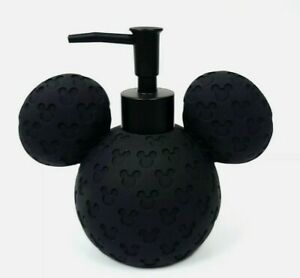 NEW RESIN BLACK LOGO 3D MICKY MOUSE DISNEY SPHERE SOAP DISPENSER,BLACK PUMP RARE