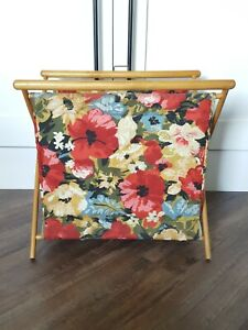 Vintage Knitting Sewing Quilting Stand Up Cloth Bag Basket Folding Wood Frame