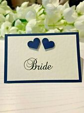 Wedding Place Cards Personalised with your Guests Names - Navy Hearts