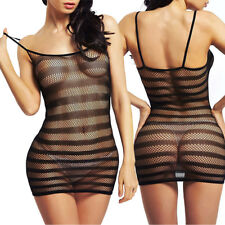 Black Sexy Women Babydoll Lingerie One Piece Chemise Fishnet Nightwear Dress US