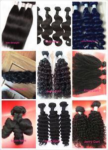 100% Virgin Peruvian water Wavy Human Hair Extension weft bundle 100g 9A black