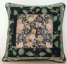 Roses - Lavender Roses w/ Leaves, Buds & Border By LESAL Tapestry Pillow New!