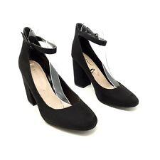 F&F Black Court Shoes Block Heels UK 8 EU 42 Ankle Strap