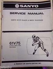 SANYO Vintage Original Black and White Television 61V75 Service Manual