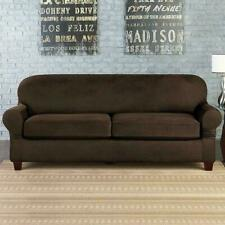Sure Fit Vintage Leather Box Cushion Sofa, Slipcover, Brown
