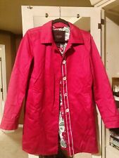 Ladies Coach Raincoat Trench Walking Coat S Jacket Peacoat Button Hot Pink Lined