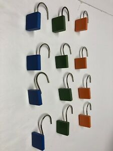 Lot Of 12 Shower Curtain Hooks Multiple Colors