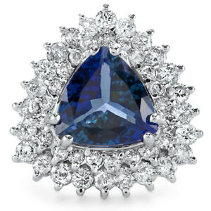 Certified BlueGreen Tanzanite 3.91cttw and 1.60cttw Diamond 14KT White Gold Ring