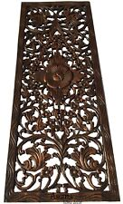 """Asian Carved Wood Wall Decor Panel. Floral Wood Wall Art. Brown 35.5""""x13.5"""""""