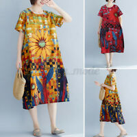Womens Summer Short Sleeve Floral Printed Sundress Loose Baggy Kaftan Midi Dress