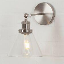 METAL MODERN RETRO SATIN NICKEL INDUSTRIAL FACTORY WALL LIGHT SCONCE GLASS SHADE