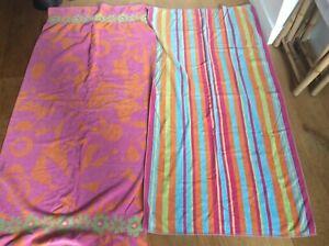 2x Large Pink Floral Stripey 100% Cotton Beach Towels Terrisol Karsten