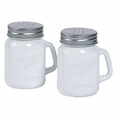 White Glass Mason Jar Salt and Pepper Shakers, New, Free Shipping