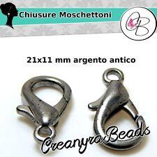 5 Pz  Chiusura moschettone 21x11mm tono argento antico minuteria per bigiotteria