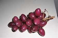 Vintage Alabaster Stone Fruit Grapes Bunch Plum Red Wood Vine Stem Italy