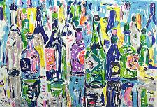"Amos Yaskil ""Bottles"" Signed Numbered Fine Artwork Lithograph by Israeli Artist"