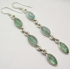 Gemstone Designer New Earrings 2.6 Inch 925 Sterling Silver Real Green Apatite 3