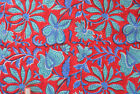 New Red 5 Yard Indian Hand Block Print Running Loose Cotton Fabric Printed Decor