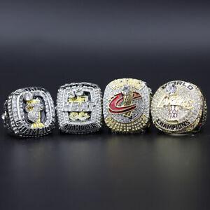 4pc NBA Lebron James NBA Championship Ring with Wooden Display Box Set