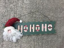 SANTA CLAUS PLUSH QUILTED CHRISTMAS HO HO HO PLAQUE WALL HANGING DECORATION